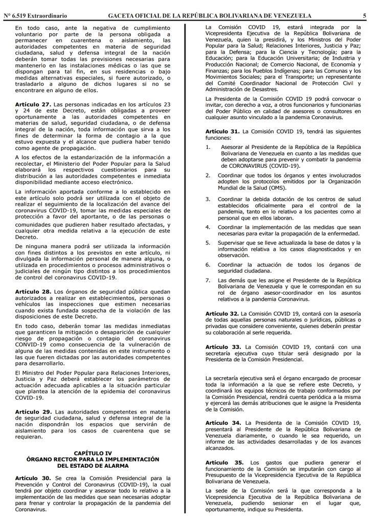 Gaceta Oficial Extraordinario n° 6519 Decreto 4160 estado de alerta considerandos hoja 5