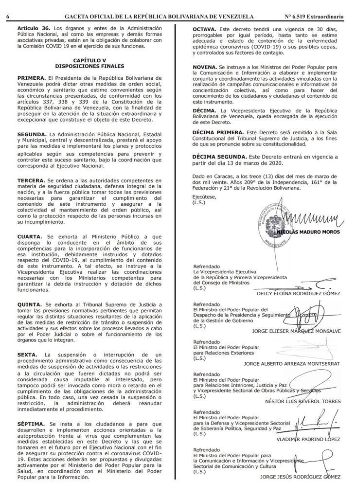Gaceta Oficial Extraordinario n° 6519 Decreto 4160 estado de alerta considerandos hoja 6