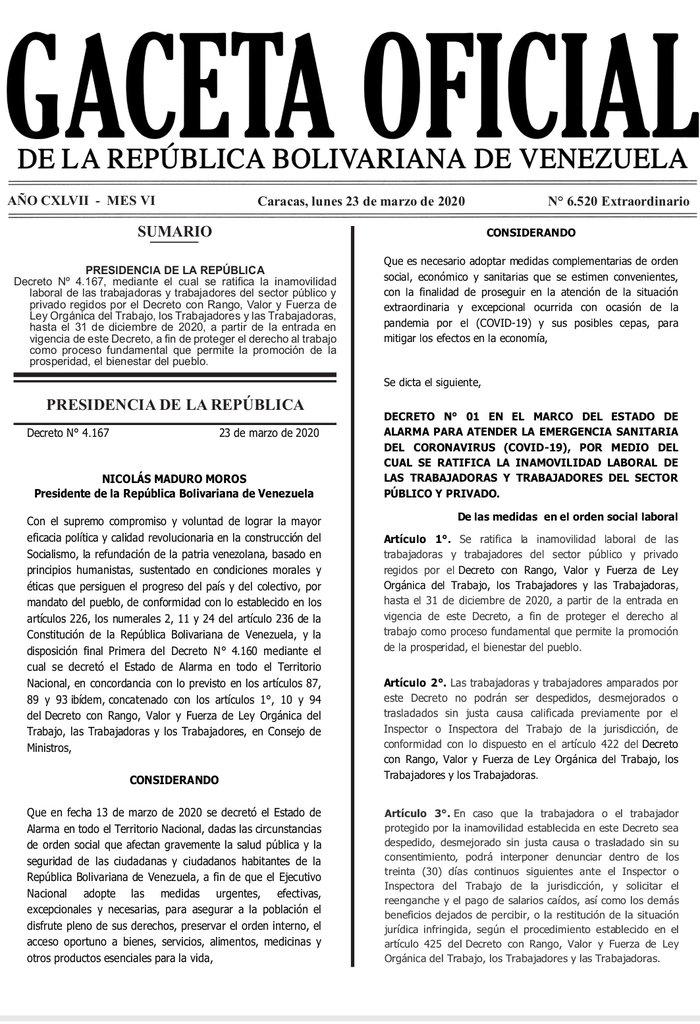 Gaceta Oficial Extraordinario n° 6520 Decreto n° 4167 ratificación de inamobilidad laboral hoja 1