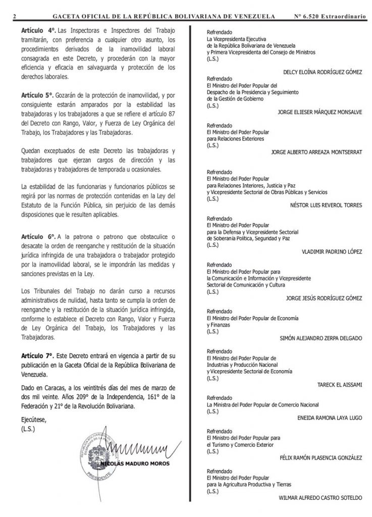 Gaceta Oficial Extraordinario n° 6520 Decreto n° 4167 ratificación de inamobilidad laboral hoja 2