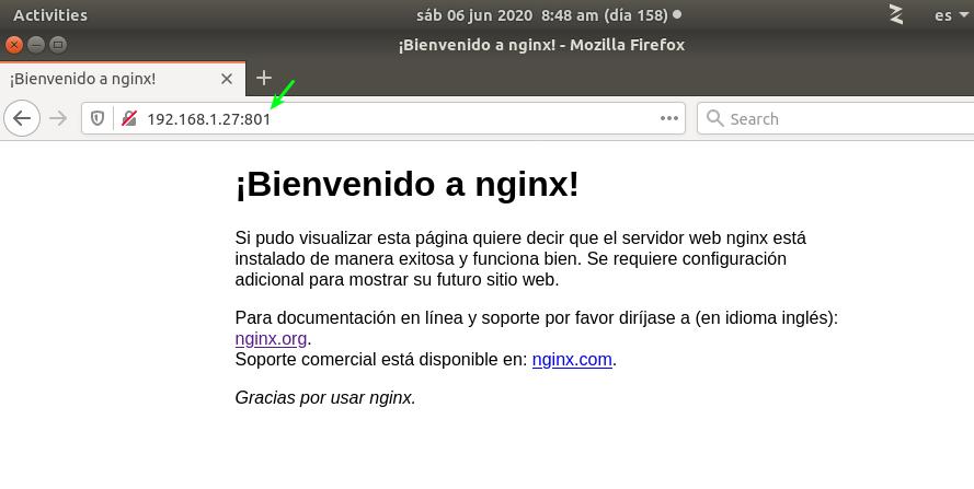 ¡Bienvenido a nginx! (puerto 801)