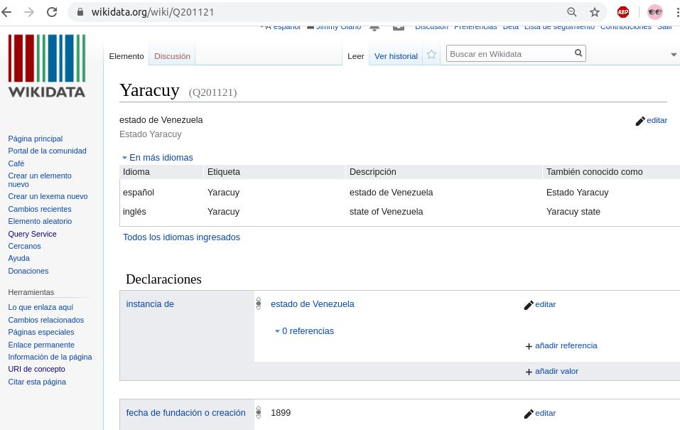 Estado Yaracuy en Wikidata
