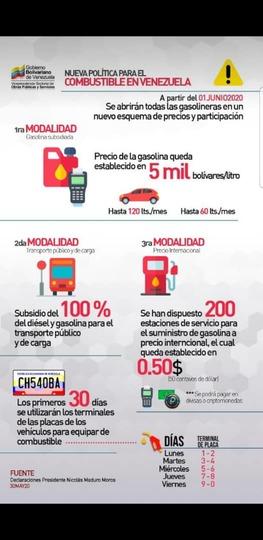 Nueva política para el combustible en Venezuela