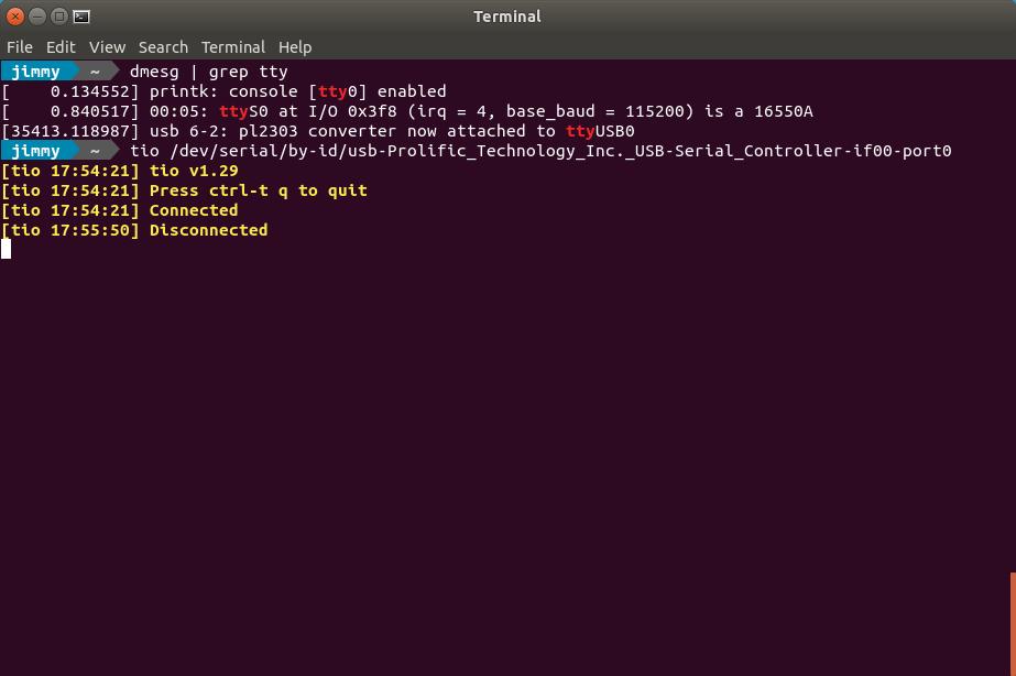 Comando «dmesg | grep tty» y luego ejecución de Tio con convertidor USB a serial y luego con el mismo desconectado.