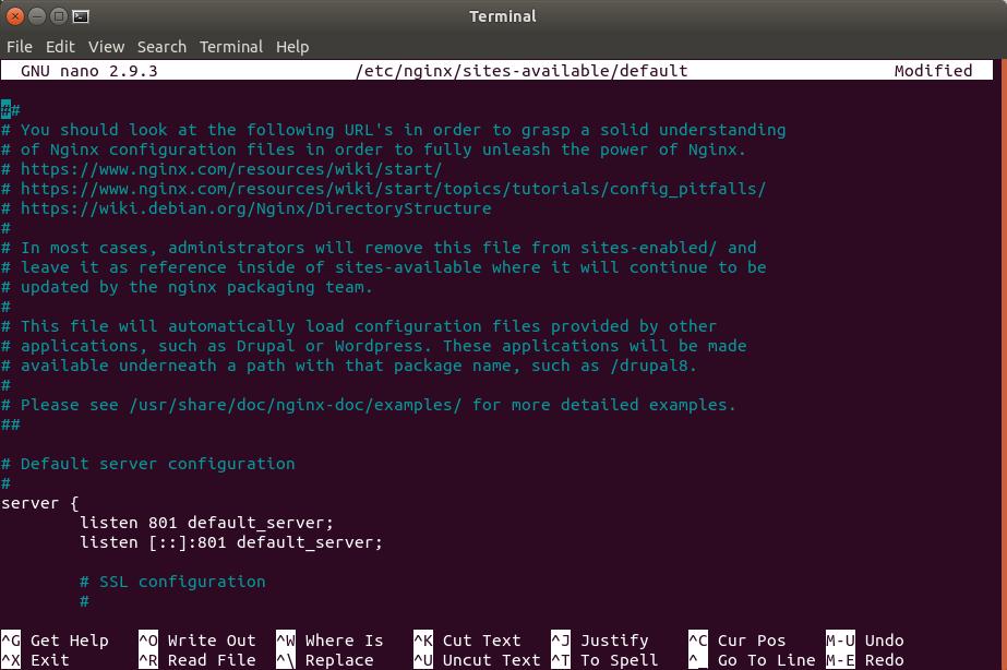 nginx puerto por defecto cambiado a 801