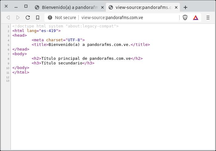 pandorafms.com.ve inspeccionando código html en Brave