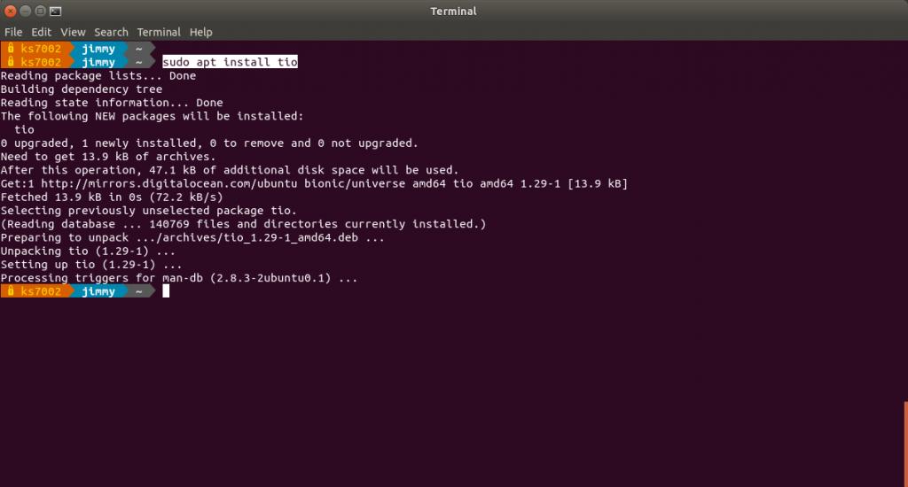 Instlación en Ubuntu 18.04: sudo apt install tio