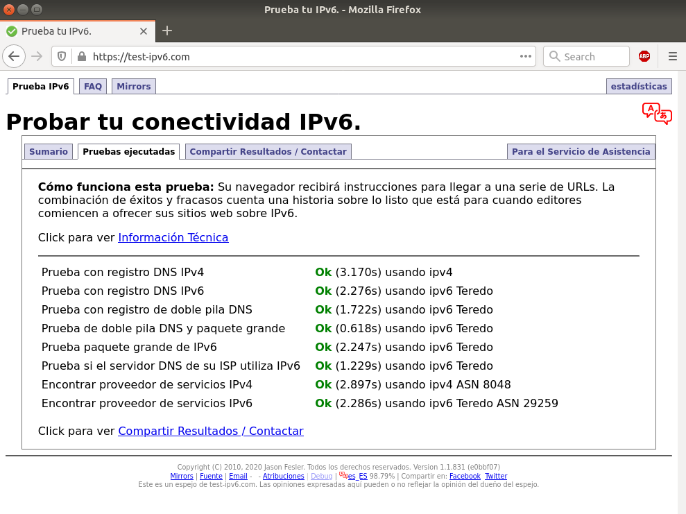 Prueba tu IPv6 con test-ipv6.com