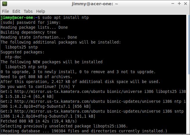sudo apt install ntp en Lubuntu 18
