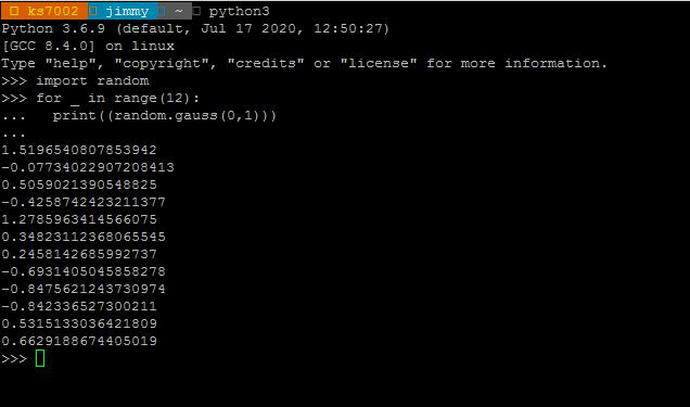 Lenguaje Python librería random función gauss()