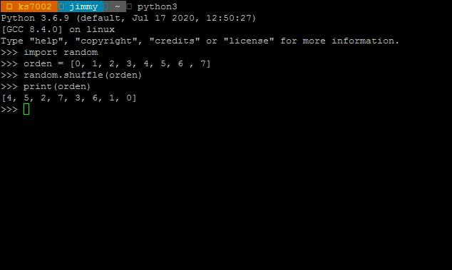 Lenguaje Python librería random función shuffle()