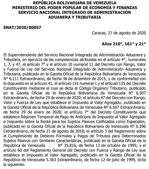 SENIAT Providencia SNAT-2020-00057 (página 451018)
