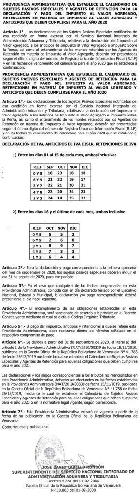SENIAT Providencia SNAT-2020-00057 (página 451019)