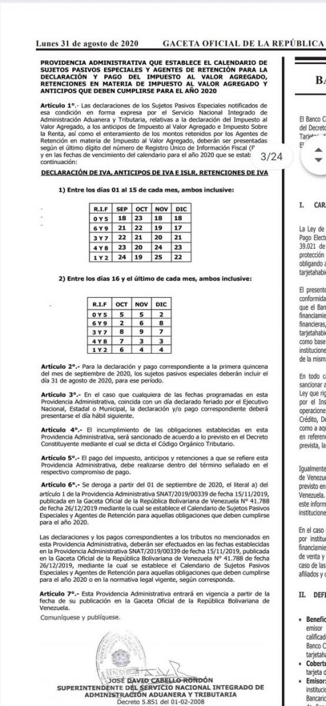 SENIAT calendario de pago quincenal año 2020 para contribuyentes especiales