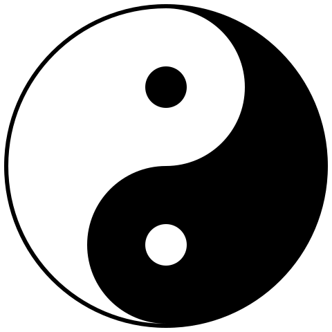 Yin y Yang ( https://commons.wikimedia.org/wiki/File:Yin_yang.svg )