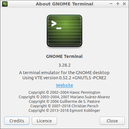 About GNOME Terminal 3.28.2 (Lubuntu 18)
