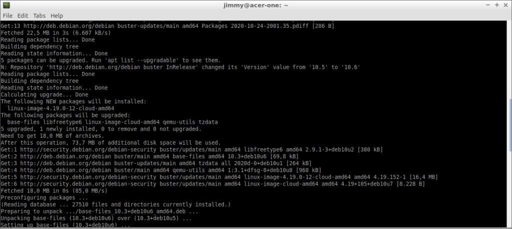 Actualización de Debian 10 desde sus repositorios por defecto