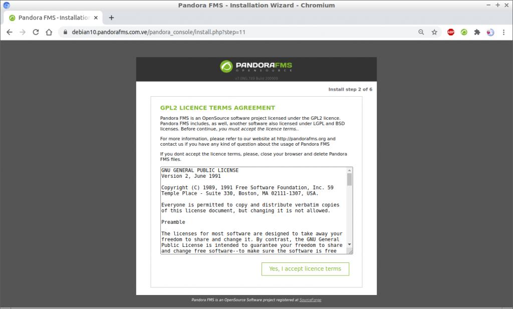Asistente de instalación Pandora FMS 749 en Debian 10 paso 2
