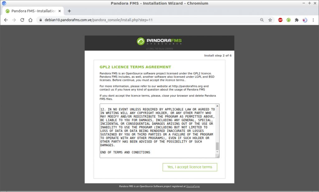 Asistente de instalación Pandora FMS 749 en Debian 10 paso 3