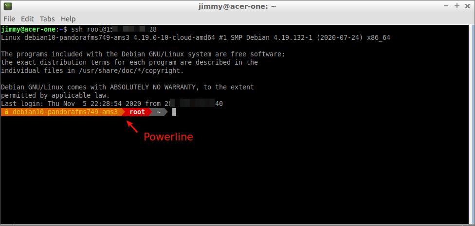 Conexión como usuario raíz y uso del indicador de comando powerline ( https://colaboratorio.net/jimmy/terminal/2019/como-instalar-powerline-en-ubuntu/ )
