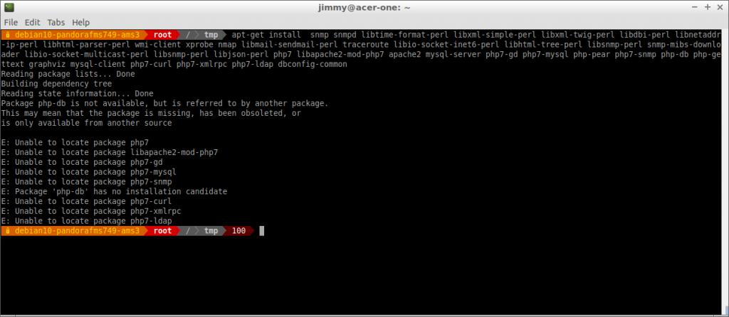 Dependencias de la consola Pandora FMS (incluye revisión de dependencias del servidor) notan php-db