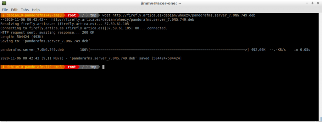 Descarga de servidor PFMS 749 con el comando wget