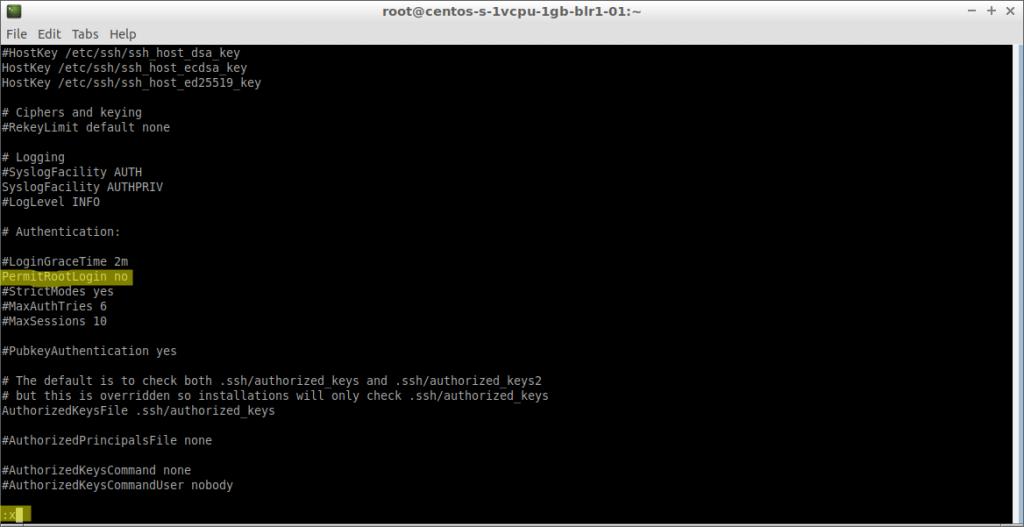 Edición de sshd_config con vi (CentOS 7 en DigitalOcean)
