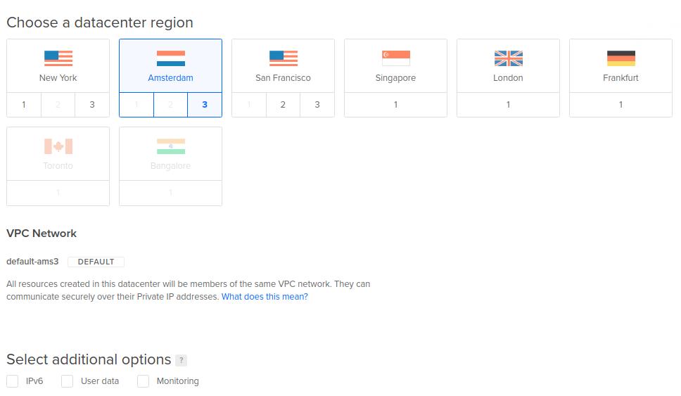 Escoger centro de datos de DigitalOcean a nivel mundial