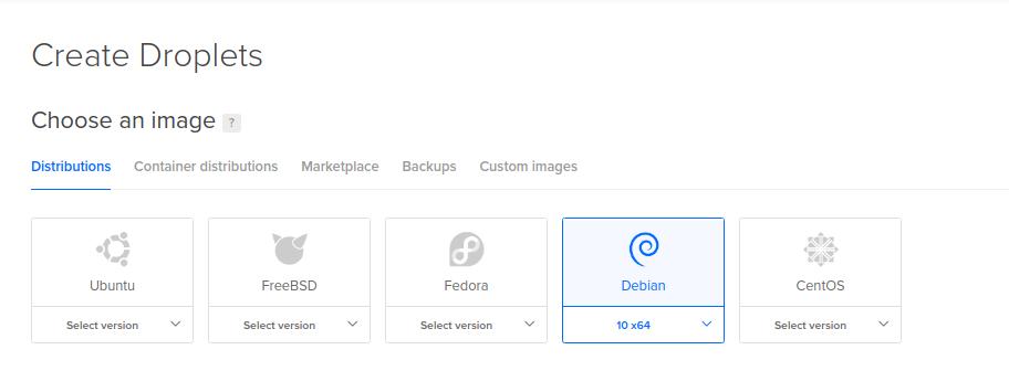 Escoger una imagen de sistema operativo para una máquina virtual en DigitalOcean