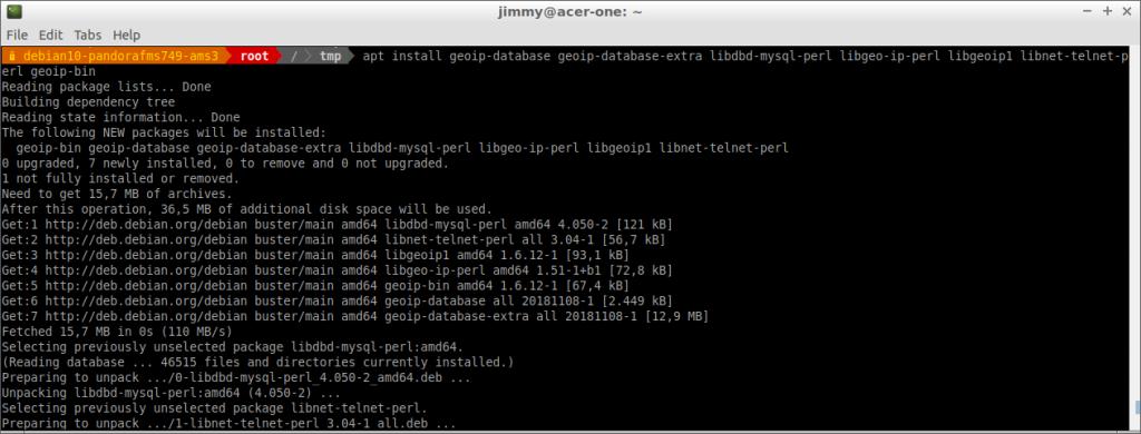 Instalación de dependencias adicionales para el servidor PFMS 749