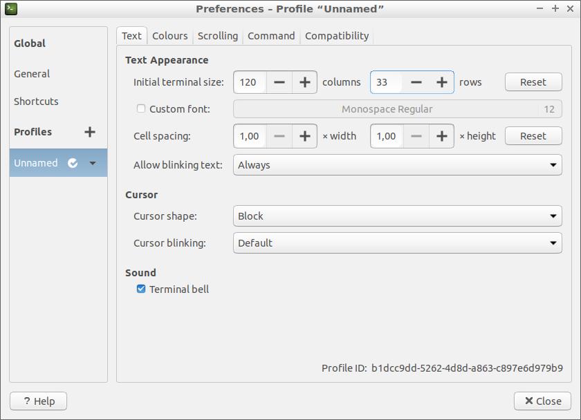 Preferences GNOME Terminal 3.28.2 (Lubuntu 18)