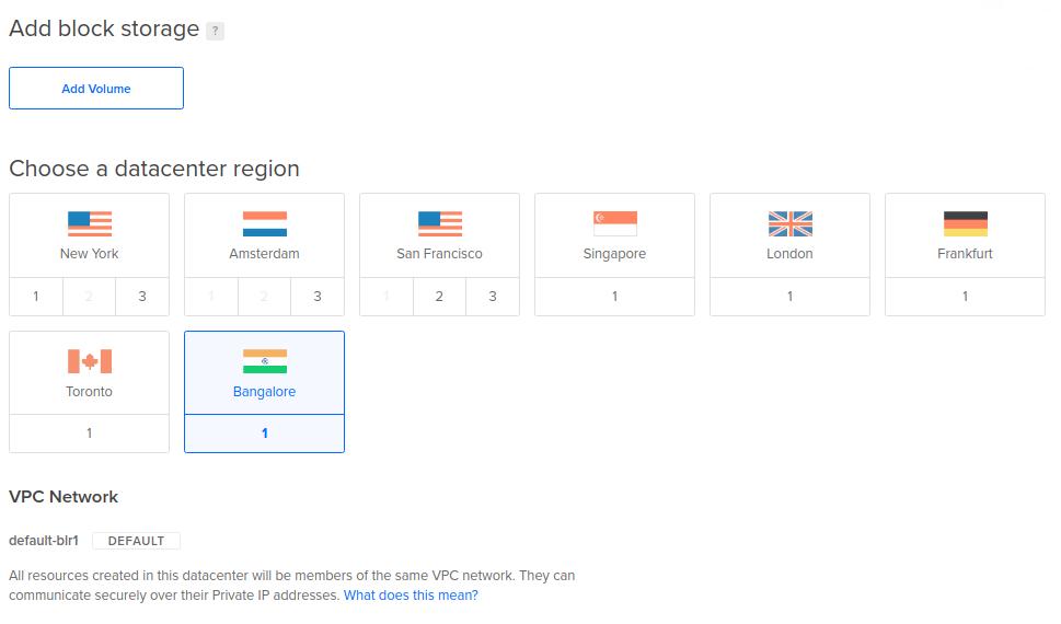 Selección de una región para alojar una máquina virtual en DigitalOcean entre otros opciones