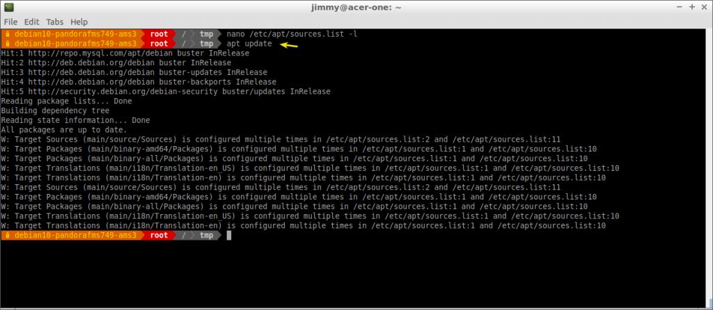 apt update en Debian 10 con repositorios ampliados