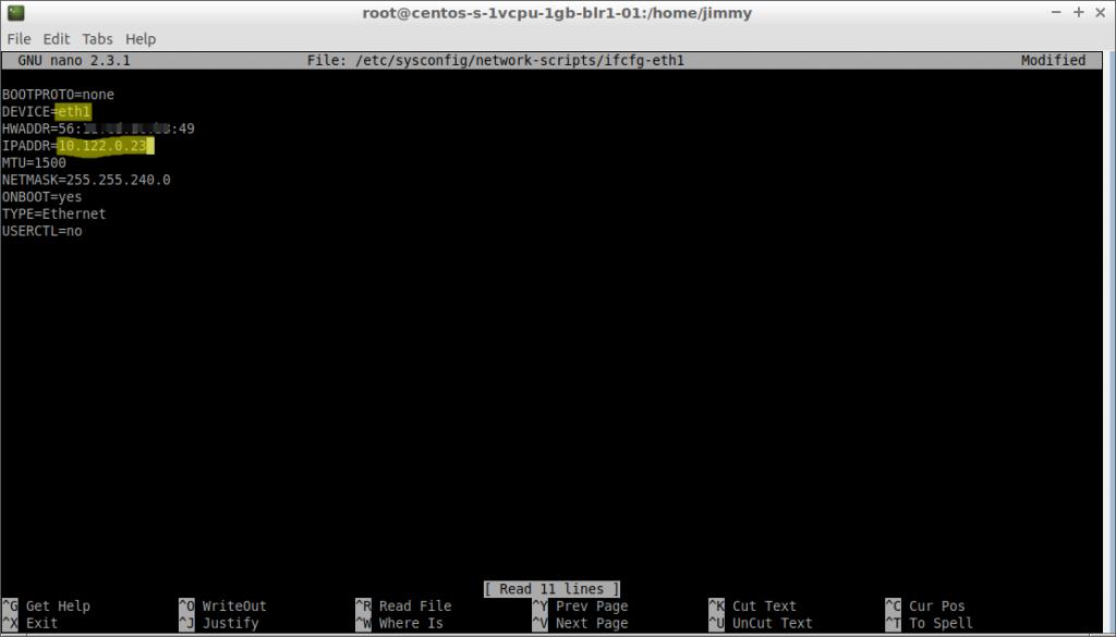 nano ifcfg-eth1 (CentOS 7 cambio de valor de dirección IPv4 fija)