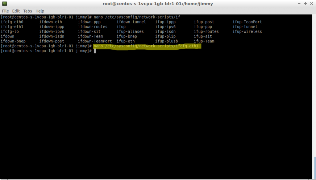 nano ifcfg-eth1 (CentOS 7 configuración de fichero)nano ifcfg-eth1 (CentOS 7 configuración de fichero)