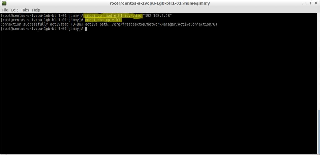 nmcli con mod eth1 ipv4.dns (CentOS 7)