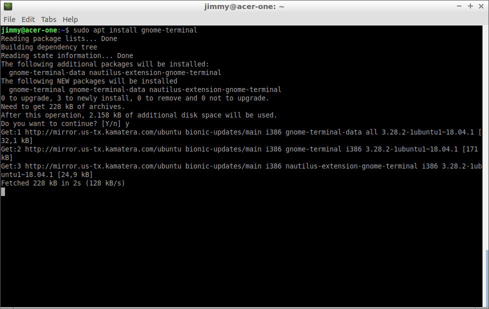 sudo apt install gnome-terminal (Lubuntu 18)