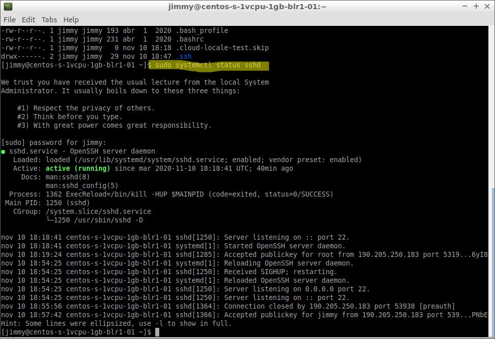 sudo systemctl status sshd (CentOS en DigitalOcean)