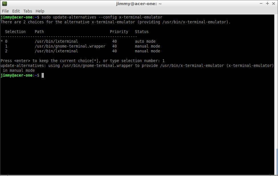 sudo update-alternatives --config x-terminal-emulator (Lubuntu 18)
