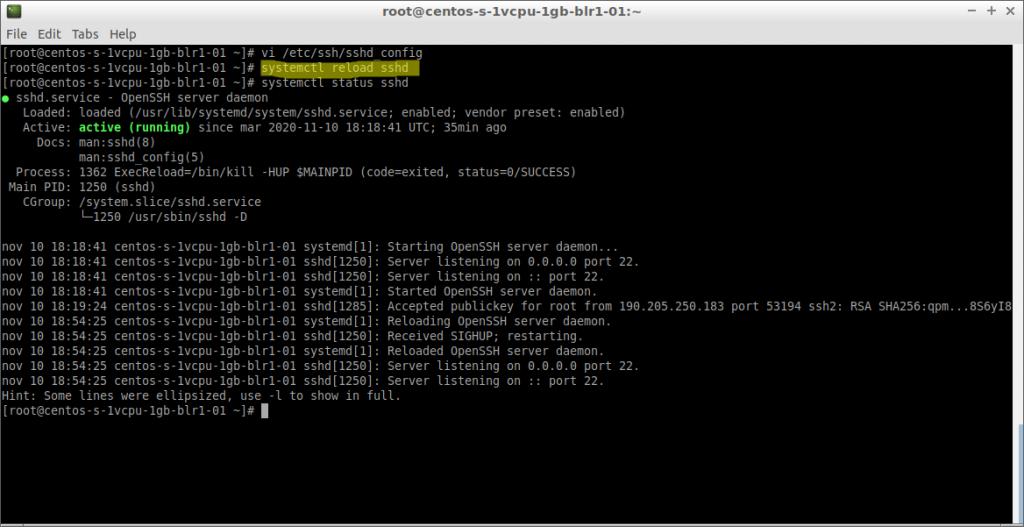 systemctl reload sshd (CentOS 7 en DigitalOcean)