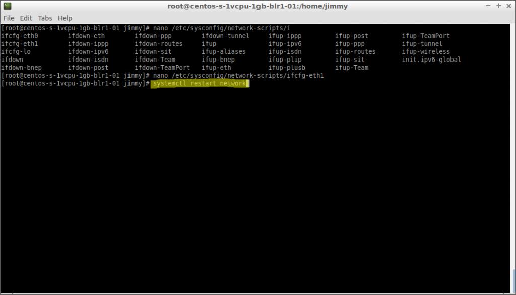 systemctl restart network (CentOS 7)