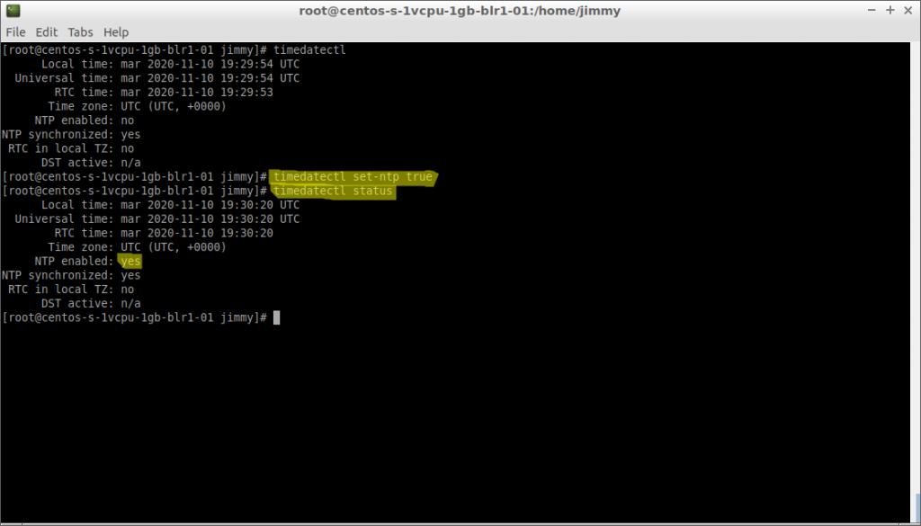 timedatectl set-ntp true (CentOS 7)