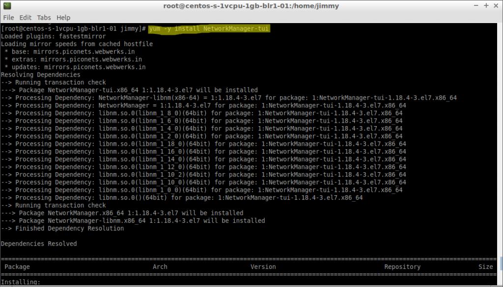 yum –y install network-manager (CentOs 7 inicio de instalación)