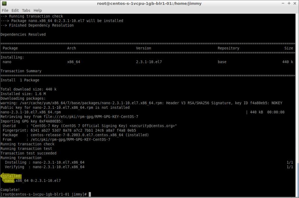 yum -y install nano (CentOS 7 fin de instalación)