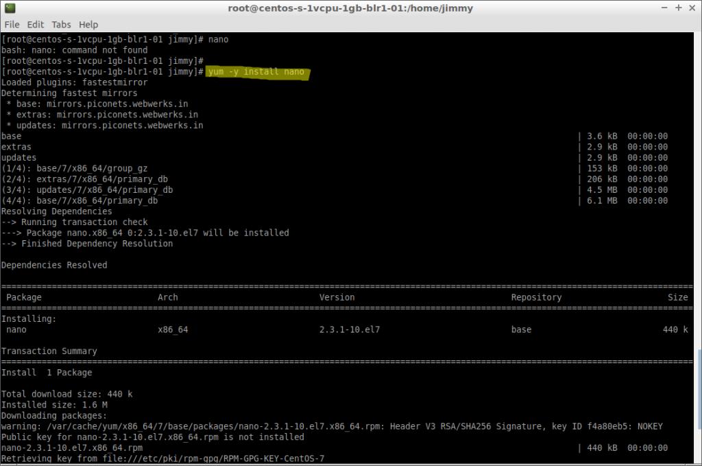 yum -y install nano (CentOS 7 inicio de instalación)