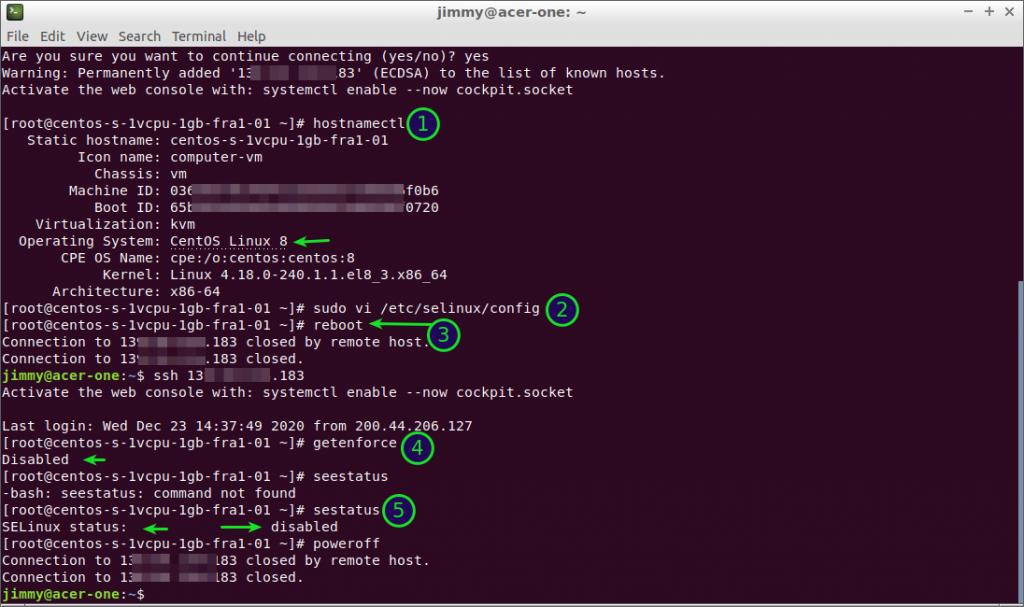 CentOS 8 deshabilitando SELinux de manera remota como usuario root.