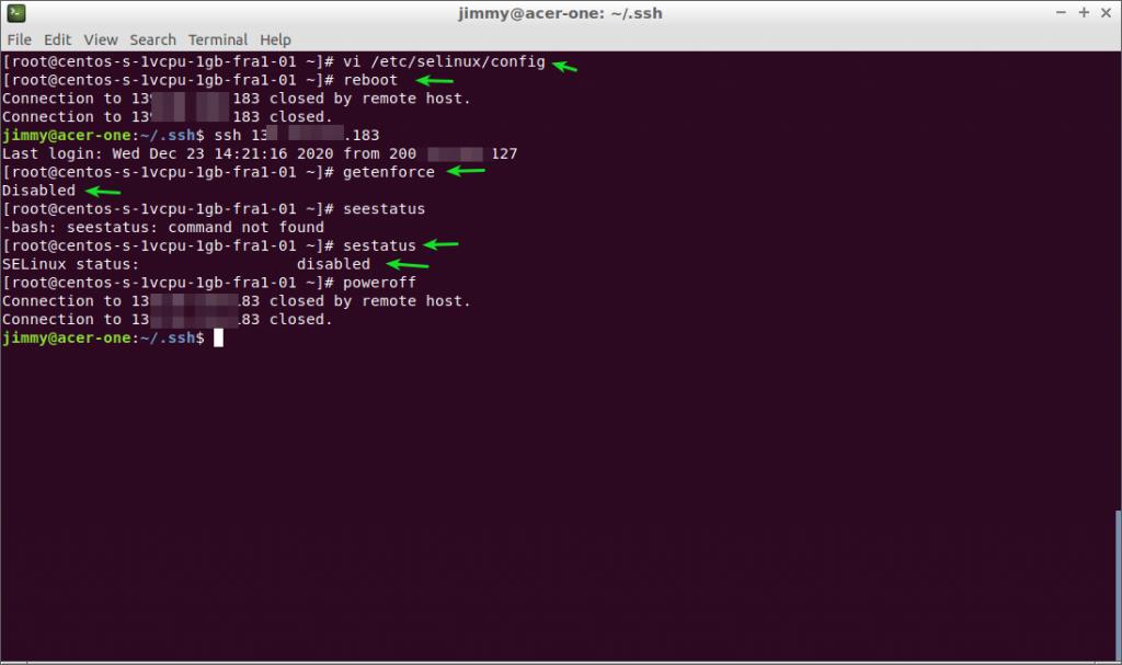 Centos 7 deshabilitación de SELinux