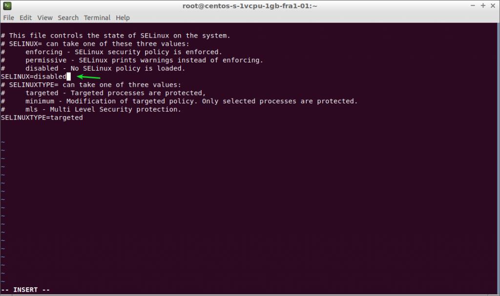 Centos 7 y 8 editando fichero config para deshabilitar SELinux
