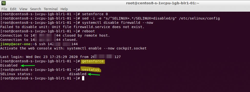 Comprobación: SELinux deshabilitado.
