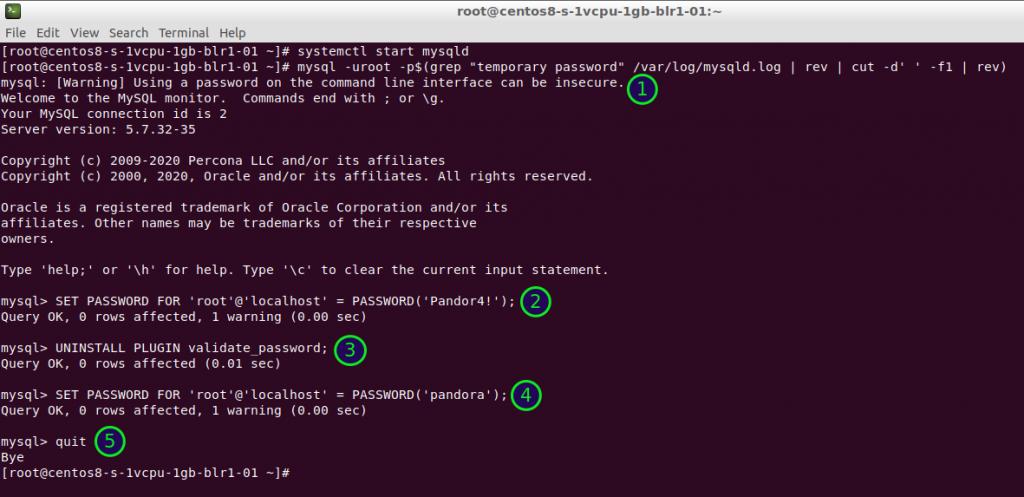 MySQL: contraseña y deshabilitación de complemento de contraseñas.